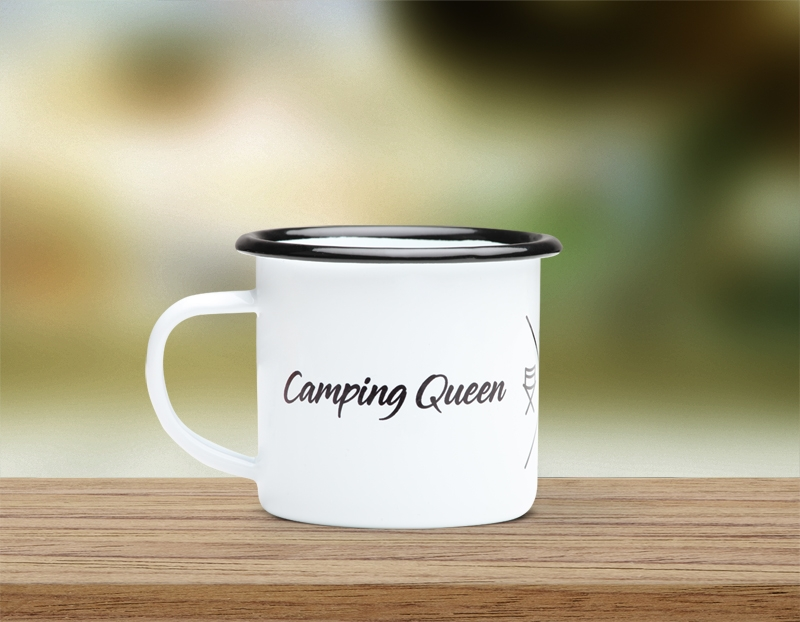 Emaille Tasse Camping Queen (personalisierbar)